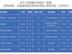 云南省民族中等专业学校2021年招生简章